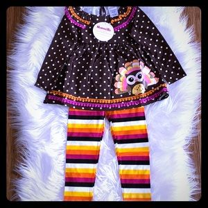 Polka-Dot Turkey Tunic with Striped Leggings